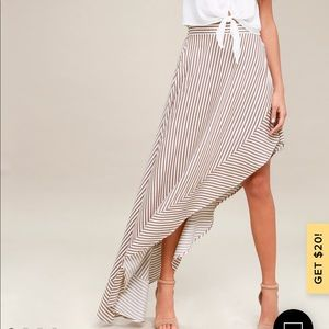 Lulu's Tan and White Striped Maxi Skirt, size M